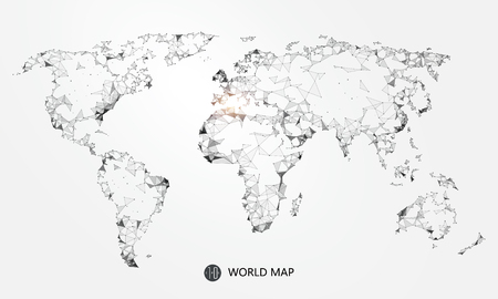 implication: Point, line, surface composition of the world map, the implication of network connection. Illustration
