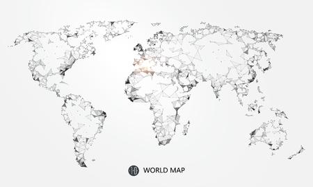 Punt, lijn, vlak samenstelling van de wereldkaart, de implicatie van de netwerkverbinding.