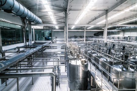 processing: Milk factory filled with pipes.