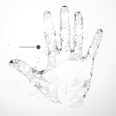 Punkty, linie i powierzchnie tworzą kształt dłoni. Ilustracje wektorowe