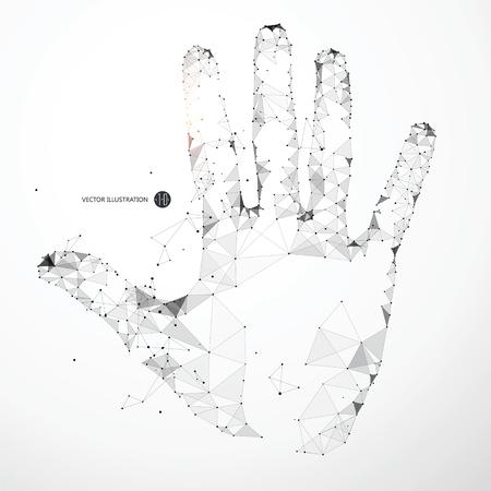fila de personas: Puntos, líneas y caras forman la forma de la palma de la mano.