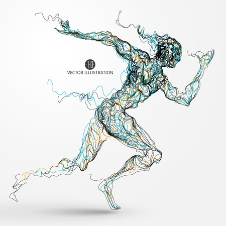 male athlete: Running man, colored lines drawing, vector illustration. Illustration