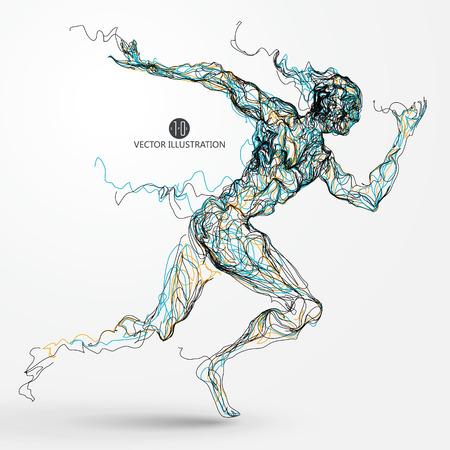 Running man, colored lines drawing, vector illustration. Vettoriali
