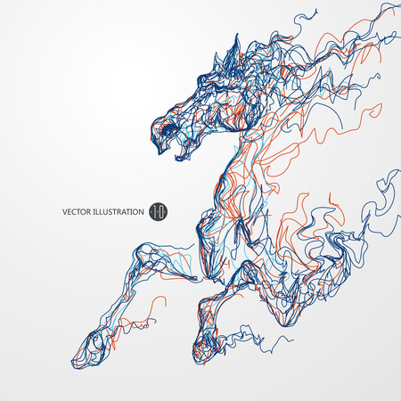 exceed: Running horse, colored lines drawing Illustration