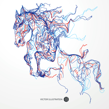 subduction: Running horse, colored lines drawing Illustration