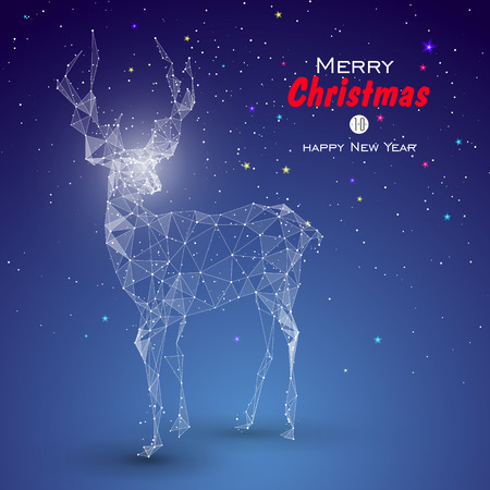 Deer composed by point, line, surface. Christmas greeting card.