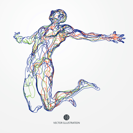 Jumping man, colored lines drawing illustration.