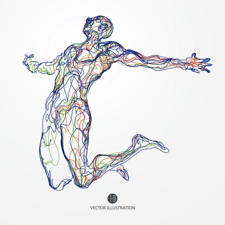 Skoki człowieka, kolorowe linie rysunku ilustracji.