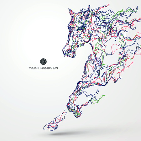 subduction: Running horse, colored lines drawing illustration.