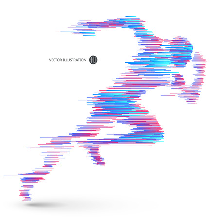 Running people, composed of colored lines. Illustration
