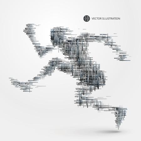 athletes: man running. Illustration