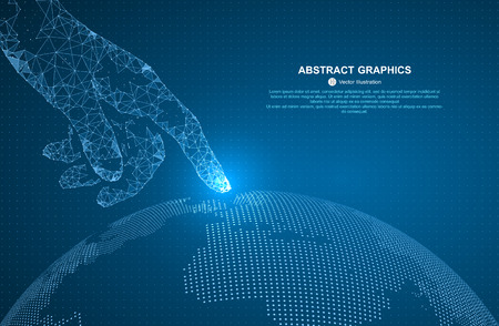 Touch the future, illustration of a sense of science and technology. Stock Illustratie