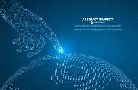 Toccare il futuro, illustrazione di un senso di scienza e tecnologia. Vettoriali