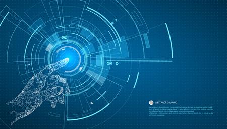 технология: Прикоснитесь к будущему, технологии интерфейса, будущее пользовательского опыта. Иллюстрация