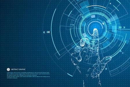 Dotknij przyszłości technologii interfejsu, przyszłość doświadczeń użytkowników. Ilustracje wektorowe