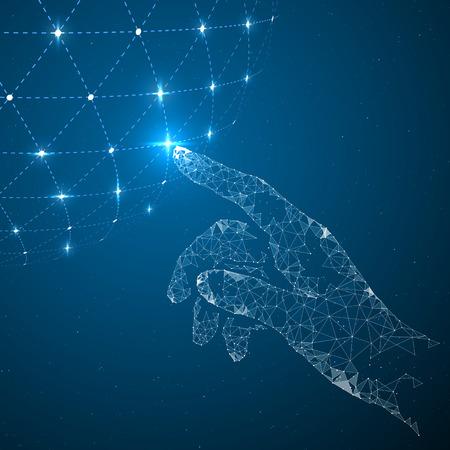Dotknij przyszłości, ilustracji znaczeniu nauki i technologii.