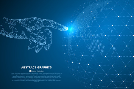 Touch the future, vector illustration of a sense of science and technology. Stock Illustratie