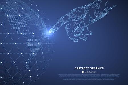 dotykový displej: Dotkněte se budoucnosti, vektorové ilustrace smysl vědy a techniky.