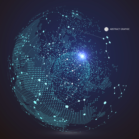 Carte du monde point, la ligne, la composition, ce qui représente la connexion réseau mondial global, sens international. Vecteurs