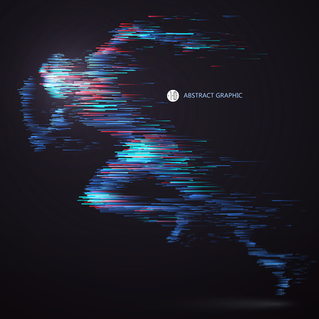Running people, composed of colored lines. Иллюстрация