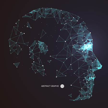 Point, connexion de ligne à partir de l'illustration du contour de la tête.