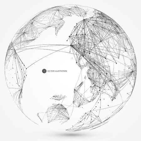 global connection: World map point, line, composition, representing the global, Global network connection,international meaning. Illustration