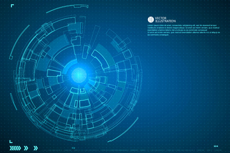 Three-dimensional interface technology, science fiction scene. Vector Illustration