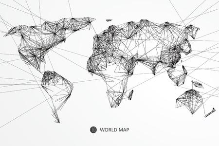 Punkt, skład linii z mapy świata, implikacje z połączenia sieciowego.