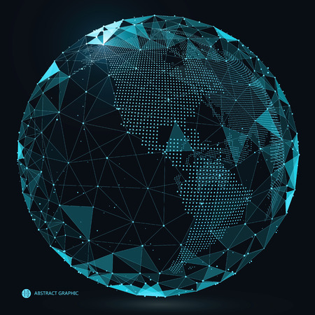 World map point, line, composition, representing the global, Global network connection,international meaning. Vettoriali