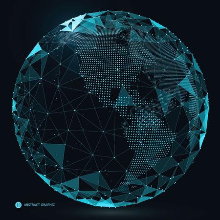 punto de mapa del mundo, la línea, la composición, que representa la conexión a la red mundial, global, internacional sentido. Ilustración de vector