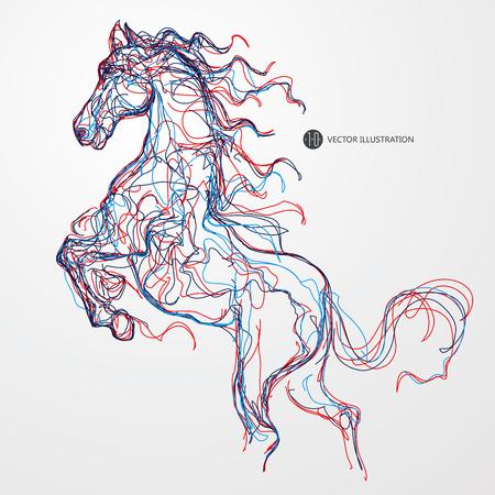 caballo: Caballo corriente, líneas de color dibujo, ilustración.