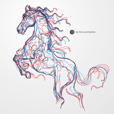 subduction: Running horse, colored lines drawing, illustration.
