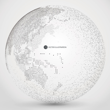 Three-dimensional abstract planet, dots, representing the global, international meaning.