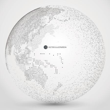 globo terraqueo: Tridimensional planeta resumen, puntos, lo que representa el significado global, internacional.