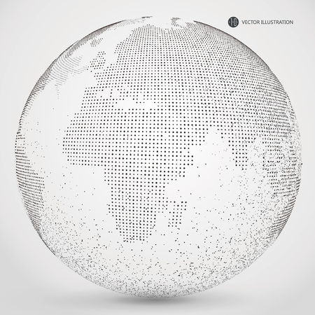meaning: Three-dimensional abstract planet, dots, representing the global, international meaning.
