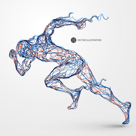 male athlete: Running man, colored lines drawing, illustration.