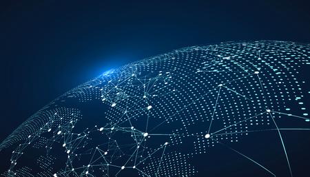 Mappa del mondo punto, la linea, la composizione, che rappresenta la connessione di rete Globale significato internazionale. Vettoriali
