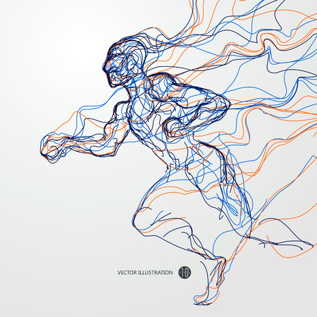 male athlete: Running man, colored lines drawing Illustration