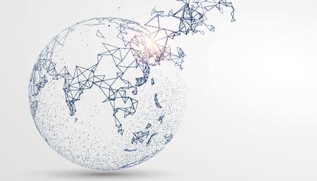 세계지도의 점, 선, 구성, 글로벌, 글로벌 네트워크 연결을 나타내는 국제 의미.