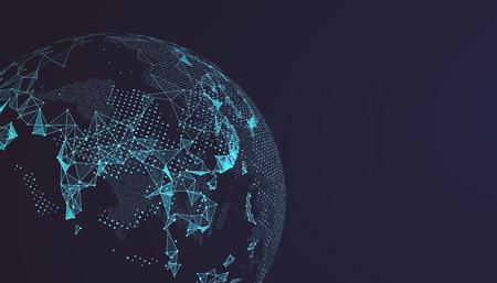 Point de la carte du monde, ligne, composition, représentant le global, connexion réseau mondial, signification internationale. Vecteurs