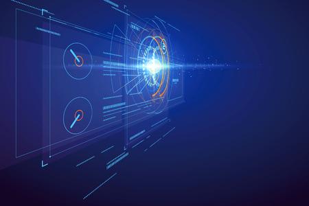 tecnologia di interfaccia tridimensionale, scena di fantascienza. Vettoriali