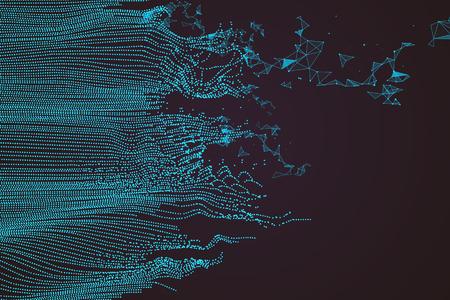 Disegno grafico astratto ondulato, un senso di scienza e tecnologia sfondo. Vettoriali