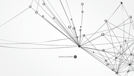 network connections: Dotted lines connected to the abstract graphics, network connections.