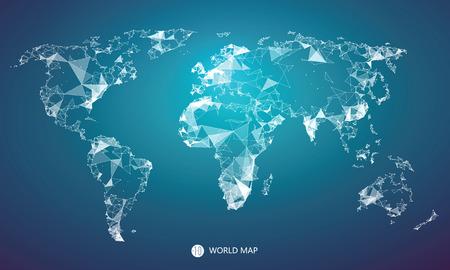 Punto, linea, composizione della superficie della mappa del mondo, l'implicazione di connessione di rete.