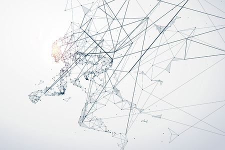 strive: Running Man,Network connection turned into illustration. Illustration