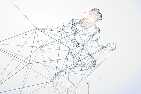 endurance run: Running Man,Network connection turned into, illustration. Illustration
