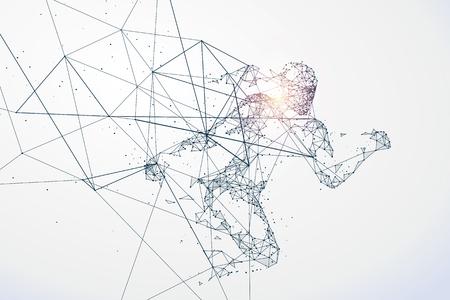 conectar: Funcionamiento del hombre, la conexión de red se convirtió en, ilustración.