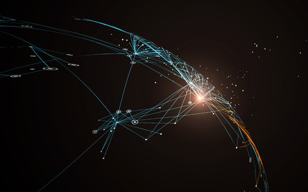 Dotted lines connected to the abstract graphics, network connections.