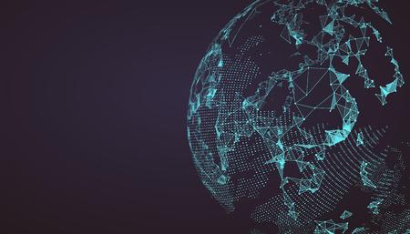 globe terrestre: Carte du monde point, la ligne, la composition, ce qui représente la connexion réseau mondial global, sens international.