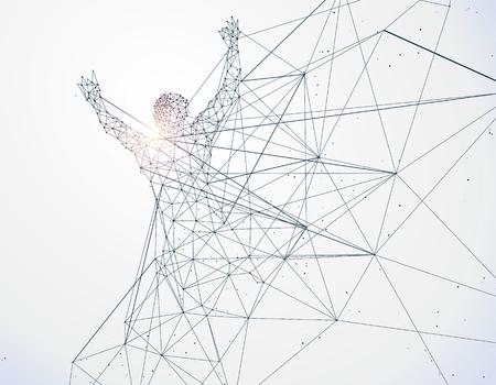 Running Man,Network connection turned into, illustration. Illustration